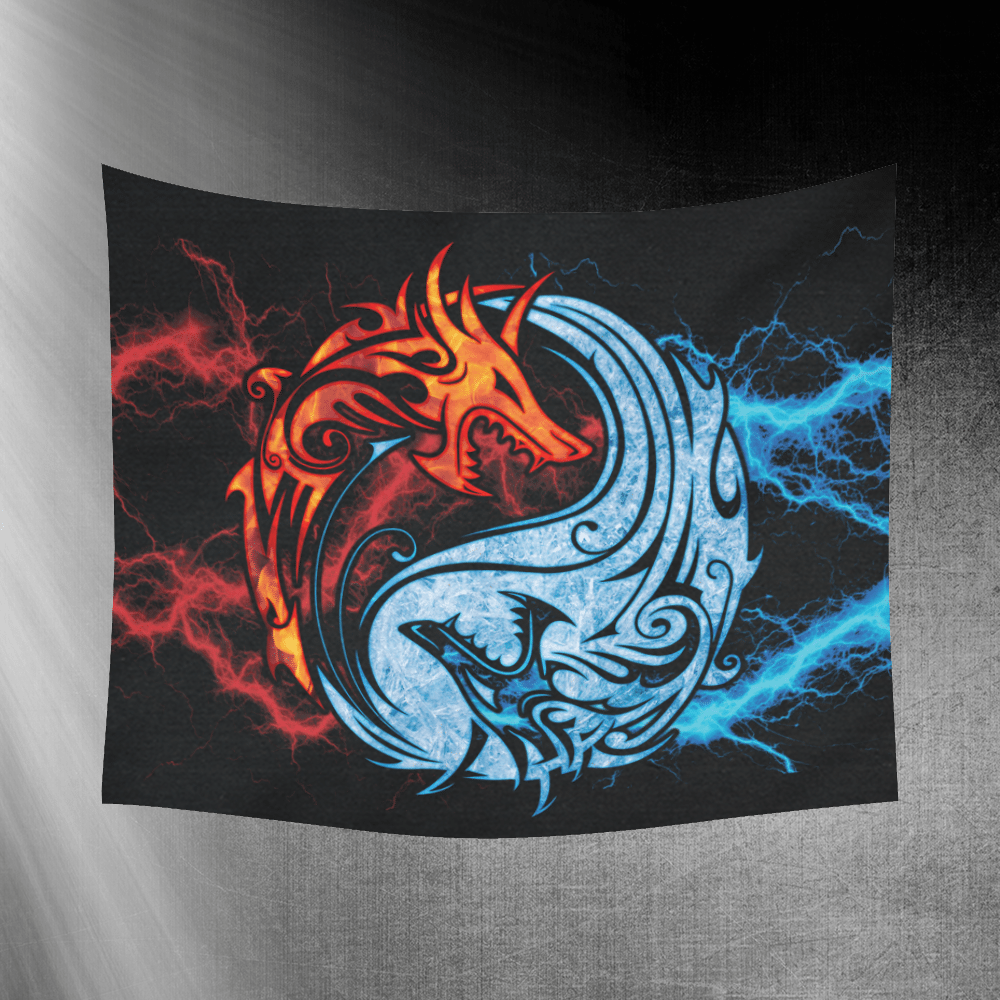 Fire And Ice Yin Yang Dragons Wall Tapestry 60 X 51 Dragons