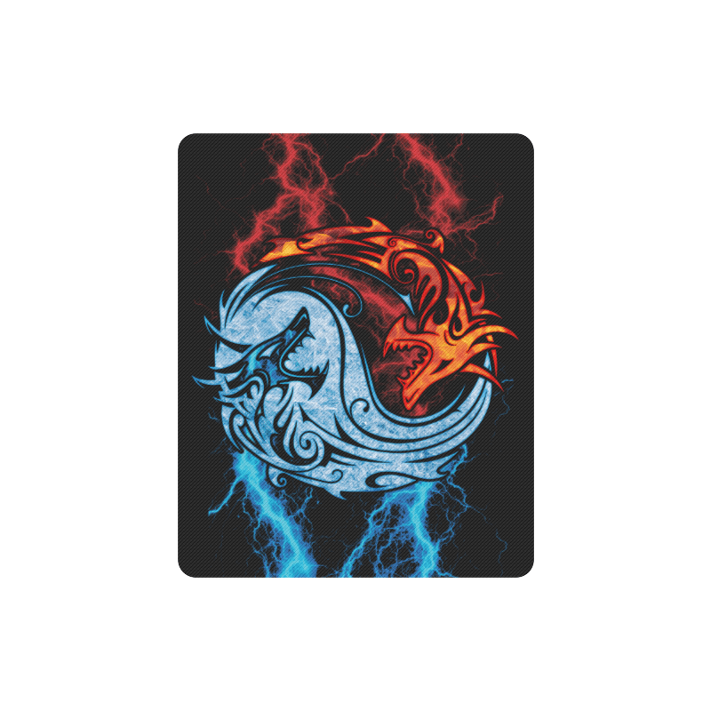 Home Mousepads Fire And Ice Yin Yang Dragons Rectangle Mousepad