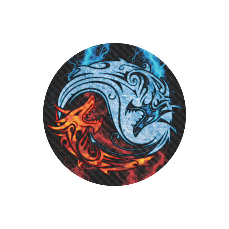 Home Mousepads Fire And Ice Yin Yang Dragons Round Mousepad