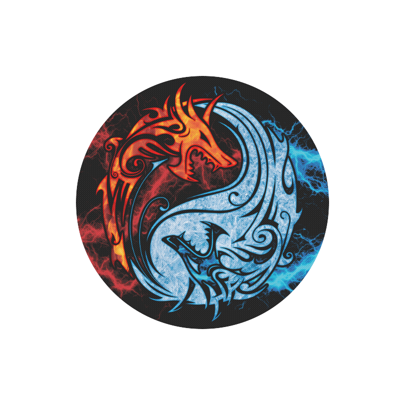 Fire And Ice Yin Yang Dragons Round Mousepad Dragons Hoard Us