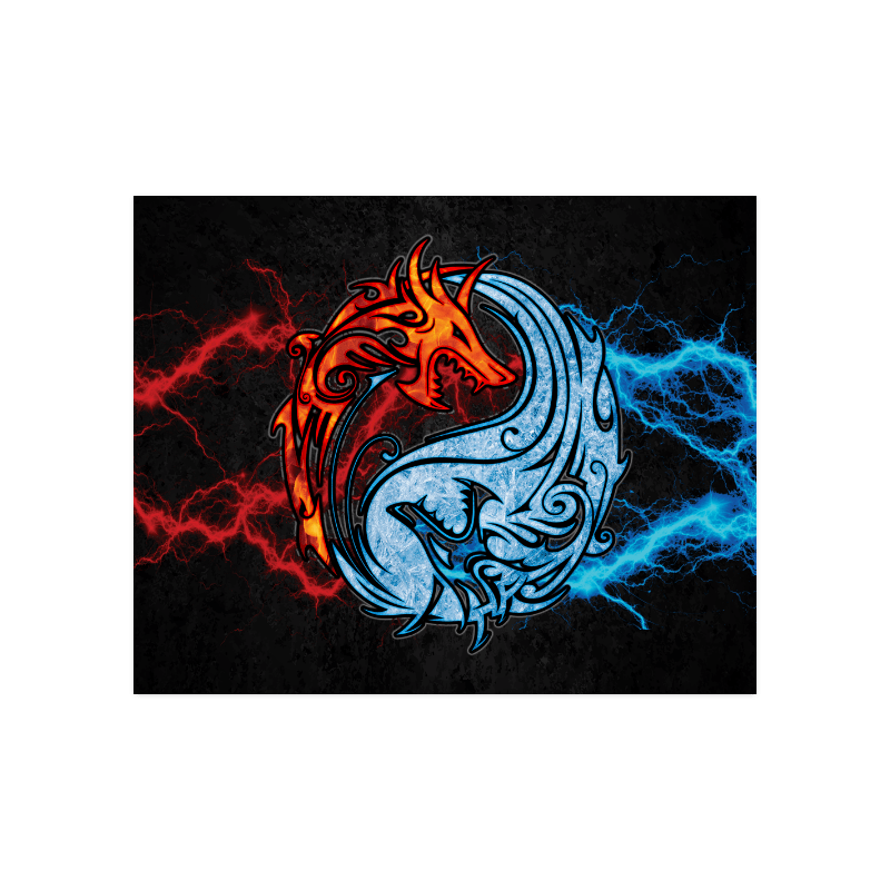 Home Wall Decor Posters Fire And Ice Yin Yang Dragons