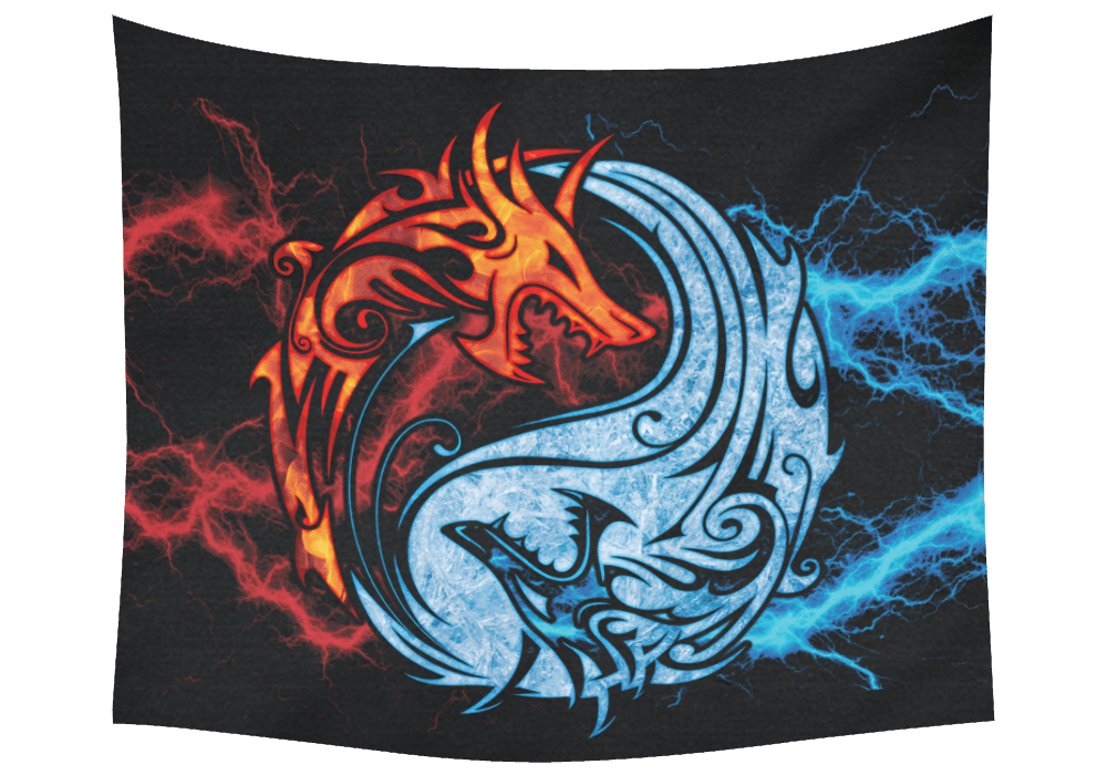 Fire and Ice Yin Yang Dragons Wall Tapestry 60 x 51 b
